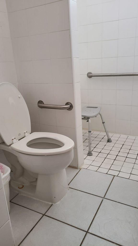 Inodoro, en la pared una barra de seguridad corta, al fondo la ducha con silla para bañarse.