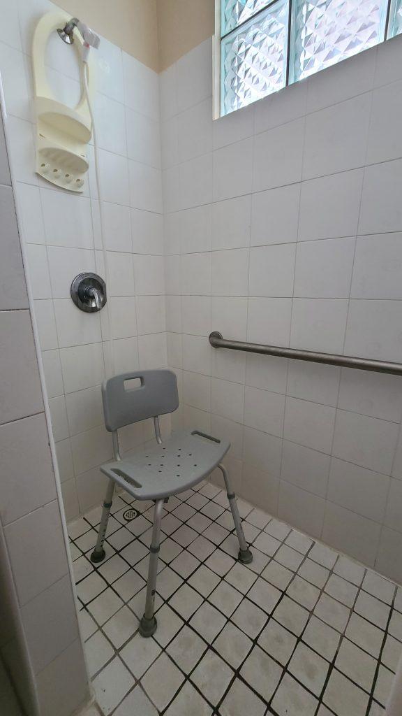 Foto de área de la ducha, silla para bañarse, con ducha manual.